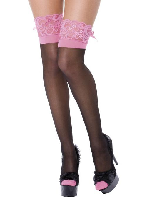 Black stockings with lace top and pink seam fancy legs buy for Best place to buy stockings