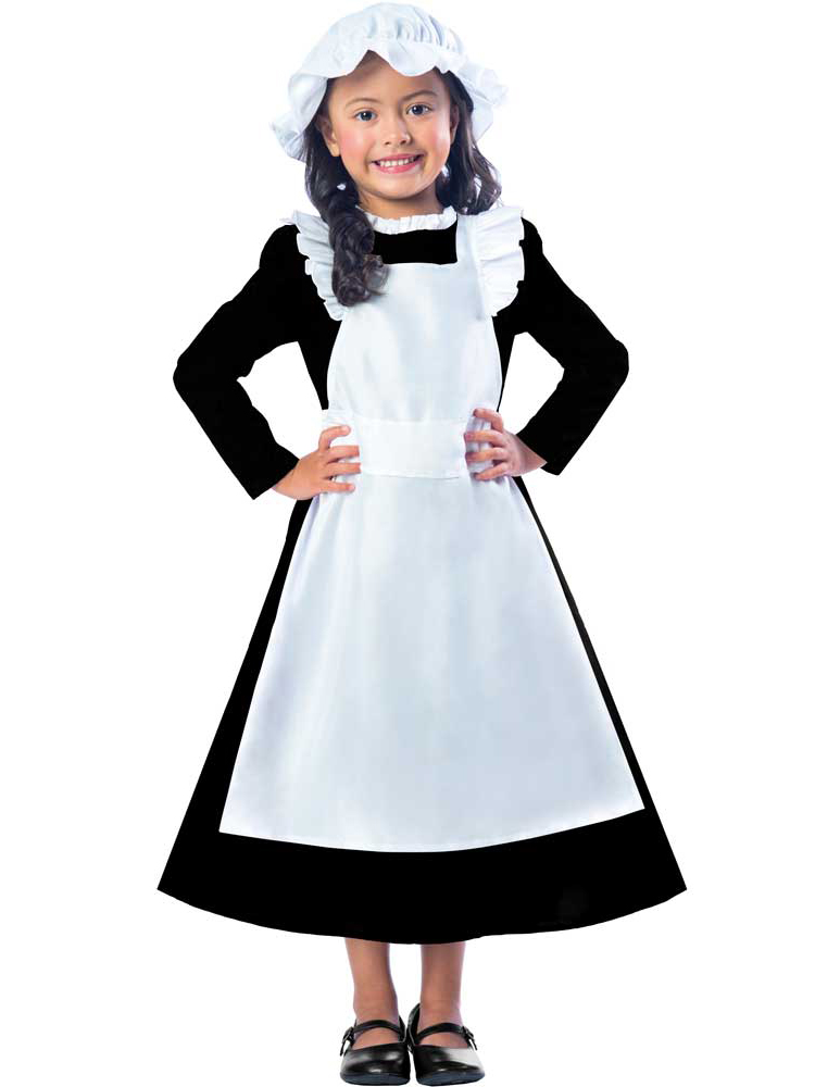 Child Victorian Maid Poor Girls Book Day Week New Fancy Dress Costume Kids 5-12