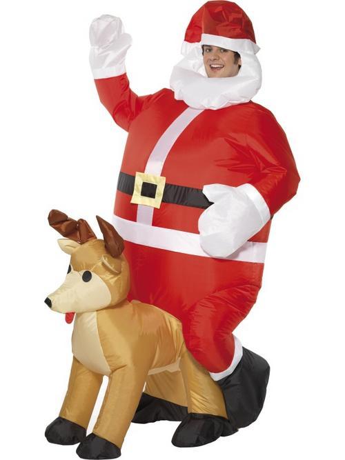 Adult inflatable santa sat on reindeer costume std buy