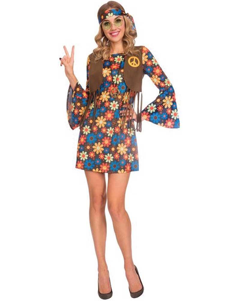 Adult Ladies Flower Hippie Costume 60s 70s Hippy Lady Fancy Dress Groovy Womens