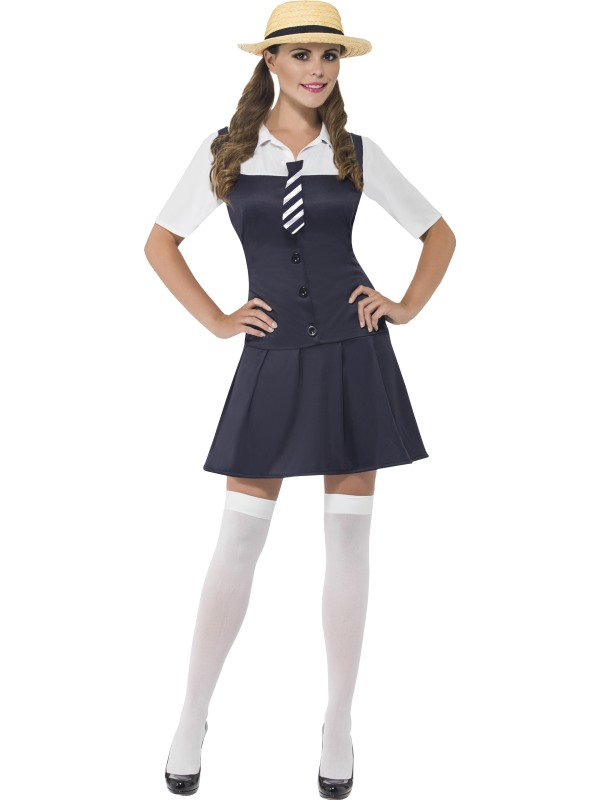 Adult-School-Girl-Costume-Outfit-Fancy-Dress-Sexy-Navy-Uniform-Ladies-Womens