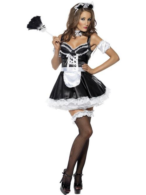 Adult Fever Flirty French Maid Fancy Dress Costume (M)