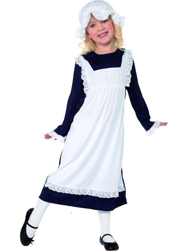CHILD AGE 4-6 VICTORIAN POOR GIRL COSTUME SMALL DRESSING UP FANCY DRESS