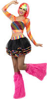 View Item Adult Rainbow Raver Rave Kit Mesh Top Tutu Fancy Dress Costume Ladies 90s 80s