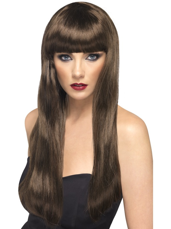 Adult Ladies Long Brown Party Wig