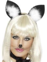 View Item Cats Ears Black and White Fancy Dress Costume Accessory