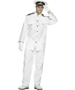 Adult Large Sailor Top Gun Officer Gentleman Captain Fancy Dress Costume