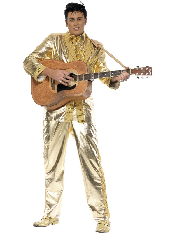 CL468 Gold Elvis Presley Licensed Costume Rock and Roll 50s Rock Star