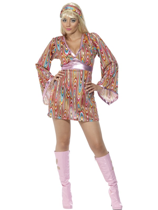 Adult hippy hottie groovy fancy dress costume 60s 70s sexy ladies women ebay - Look disco femme ...