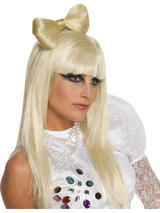 View Item Lady Gaga Platinum Blonde Hair Bow Clip Fancy Dress Licensed