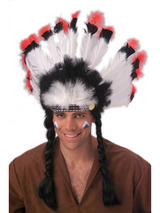 View Item Native American Headdress Red Indian Costume Accessory