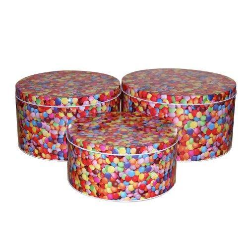 3 x splash large cake tins sweets kitchen storage rerto. Black Bedroom Furniture Sets. Home Design Ideas