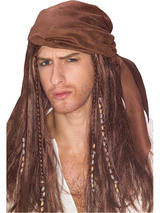 Pirate Bandana And Brown Wig