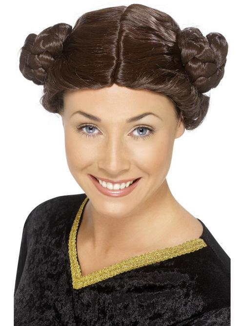 Adult Princess Leia Wig Fancy Dress Costume Accessory