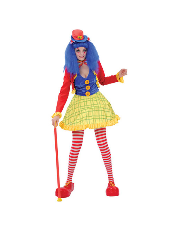 Adult Coco Clown Lady Girl Circus Fancy Dress Costume Ladies Womans Halloween BN