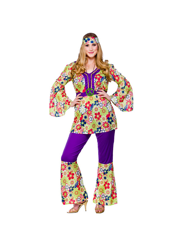 Adult-Hippie-Chick-Fancy-Dress-60s-70s-Hippy-Costume-Ladies-BN