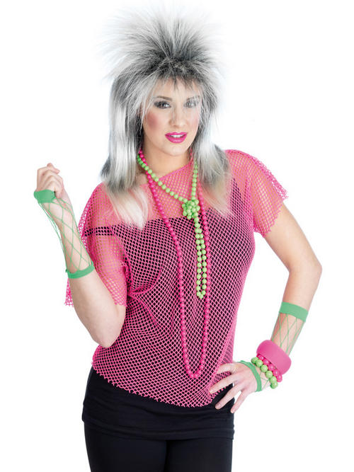 Item details ladie s neon mesh top fancy dress 80s disco party