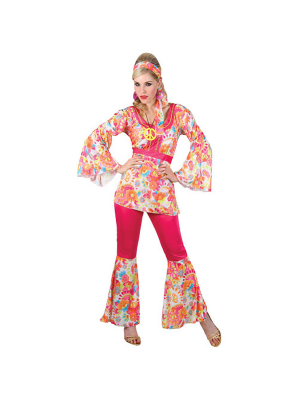 Hippy-Flares-amp-Top-Outfit-60s-70s-Fancy-Dress-Hippie-Adult-Ladies-Costume-6-28