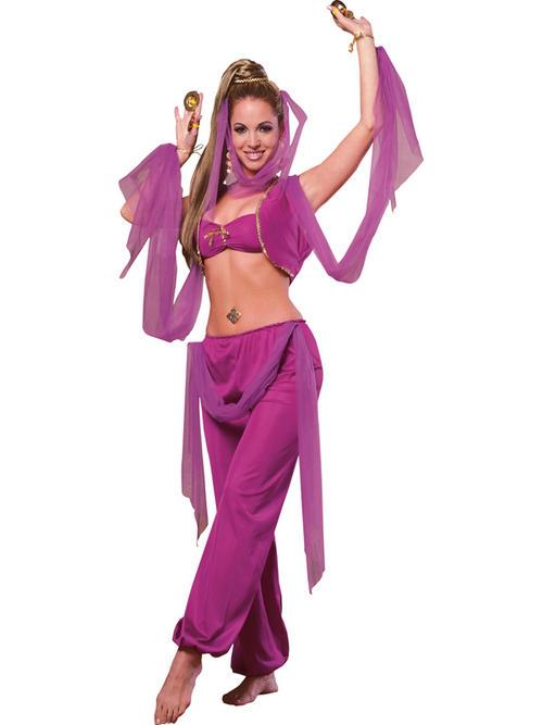 Adult arabian princess jasmine belly dancer harem fancy dress costume