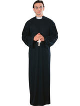 View Item Adult Priest Vicar Father Robe Dog Collar Fancy Dress Costume One Size Mens