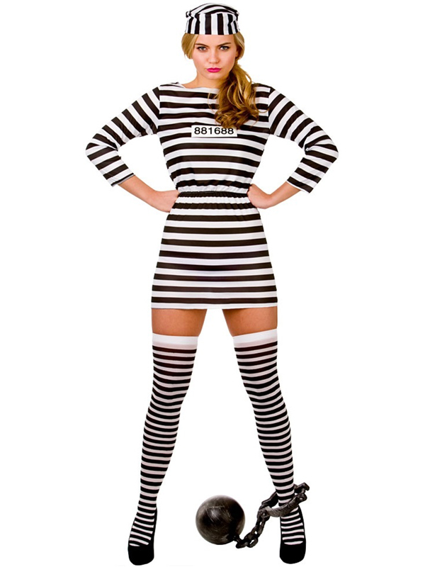 Ladies Jailbird Cutie Prisoner Convict Cell Inmate Fancy Dress ...
