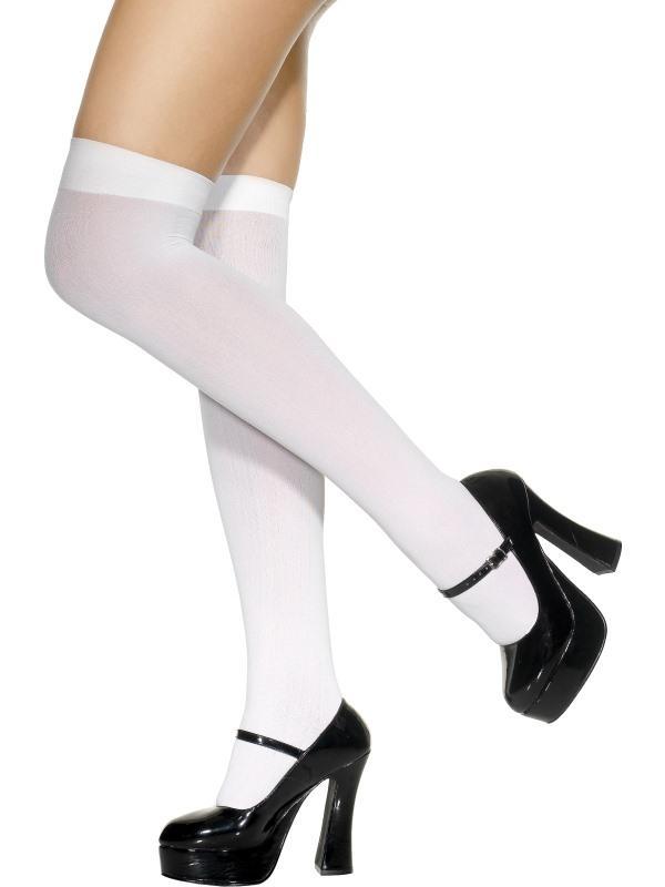 Adult Ladies Sexy Knee High Stockings, White Thumbnail 2