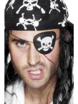 View Item Skull And Crossbone Pirate Eyepatch Fancy Dress Caribbean Costume Headwear