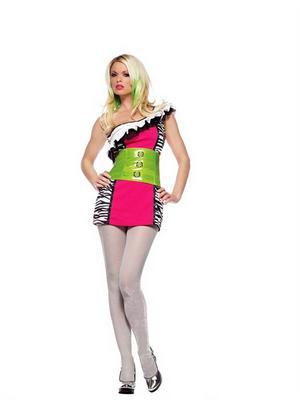 Adult Ladies 6-8 80s Neon Eighties Zebra Print Fancy Dress Halloween Costume