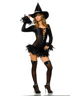 View Item Adult Size 12-14 Sexy Witch Broomstick Babe Fancy Dress Gothic Halloween Costume