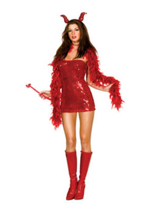Adult Ladies 12-14 Little Devil Fancy Dress Red Hot Sexy Halloween Costume