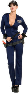 View Item Adult Ladies 8-10 Sexy CSI Criminal Investigator Fancy Dress Cop Costume CSI