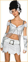 View Item Adult Ladies 6-8 Sexy Bride of Frankenstein With Wig Fancy Dress Costume (XS)