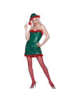 View Item Adult Ladies 12-14 PVC Santa's Sexy Helper Christmas Fancy Dress Costume (STD)