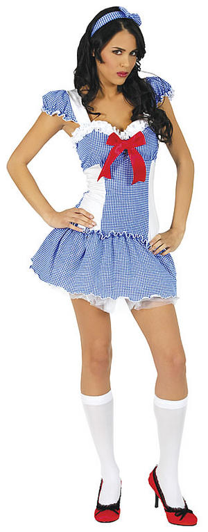 Adult Ladies UK 10-12 Sexy Dorothy Girl Fancy Dress Fairytale Costume (M/L)