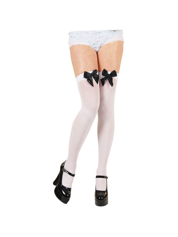 White Thigh High Stockings with Black Bow