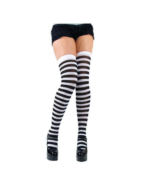 Black White Candy Stripe Thigh High Stockings