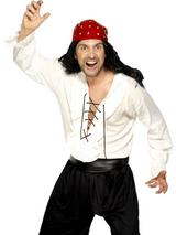 View Item Adult Pirate Lace Up Shirt Medium Fancy Dress Costume