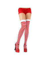 Red White Candy Stripe Thigh High Stockings