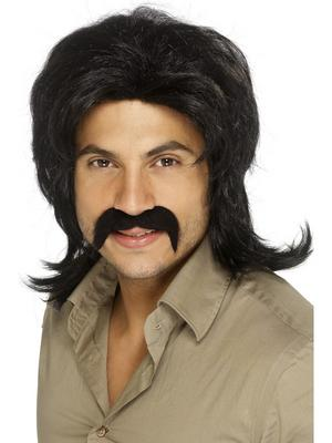 Men's 70s Disco Fever Wig - Black Thumbnail 1