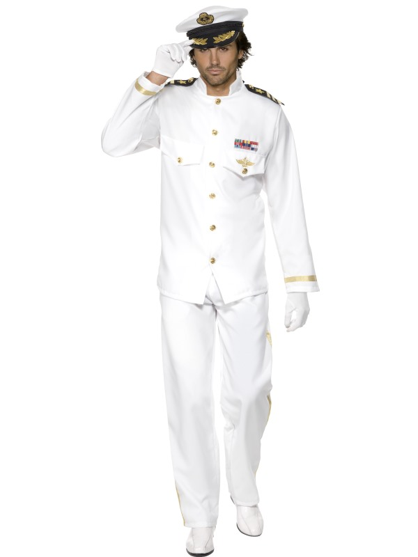 Adult Captain Deluxe Fancy Dress Navy Sailor Forces Naval