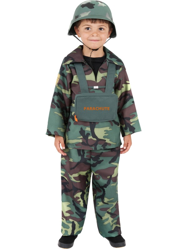 Kids Age 10-12 Years Army Boy Fancy Dress War Parachute Soldier Costume (Large)