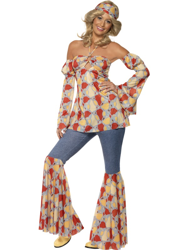 Adult Vintage Hippy Groovy Fancy Dress Costume 70s Ladies Women ...