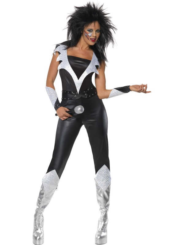 Adult Glam Rock Chick Party New Outfit Fancy Dress Costume Ladies Womens | eBay