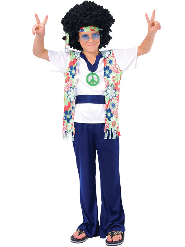 hippie dude kids boys hippy 60s 70s fancy dress retro