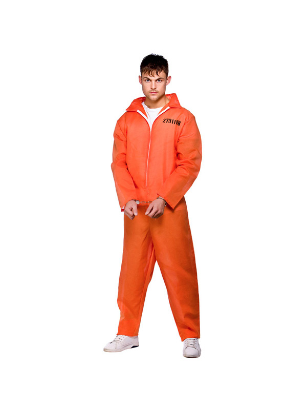 Adult-Convict-Suit-Fancy-Dress-Prisoner-Inmate-Boiler-Suit-Party-Costume-Mens-BN