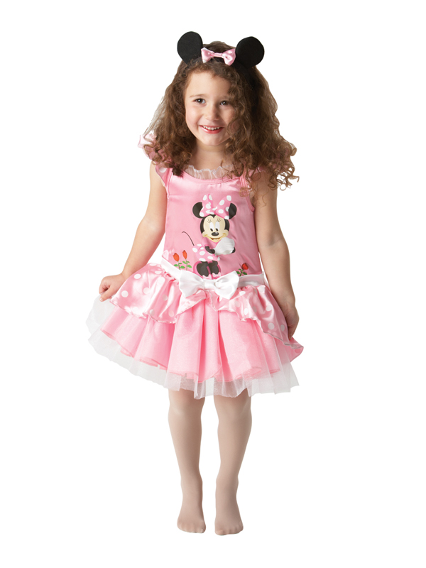 The officially licensed Minnie Mouse Pink Ballerina fancy dress costume comes with ears on a headband and a net layered tutu skirt with bows, spots and Mini Mouse .