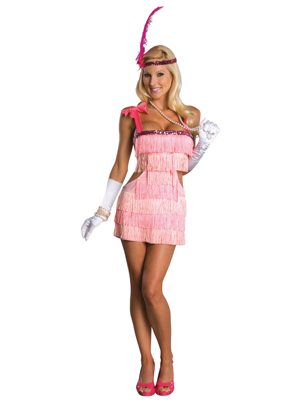 Adult Pink Flapper 1920s 20s Fancy Dress Costume Ladies Womens ...