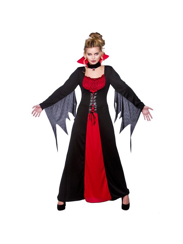 Vampiress Ladies Halloween Fancy Dress Womens Adults Vampire Costume Outfit New