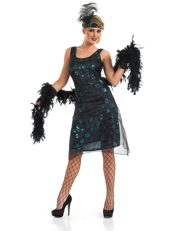 Ladies 20s Flapper Dress & Accessories