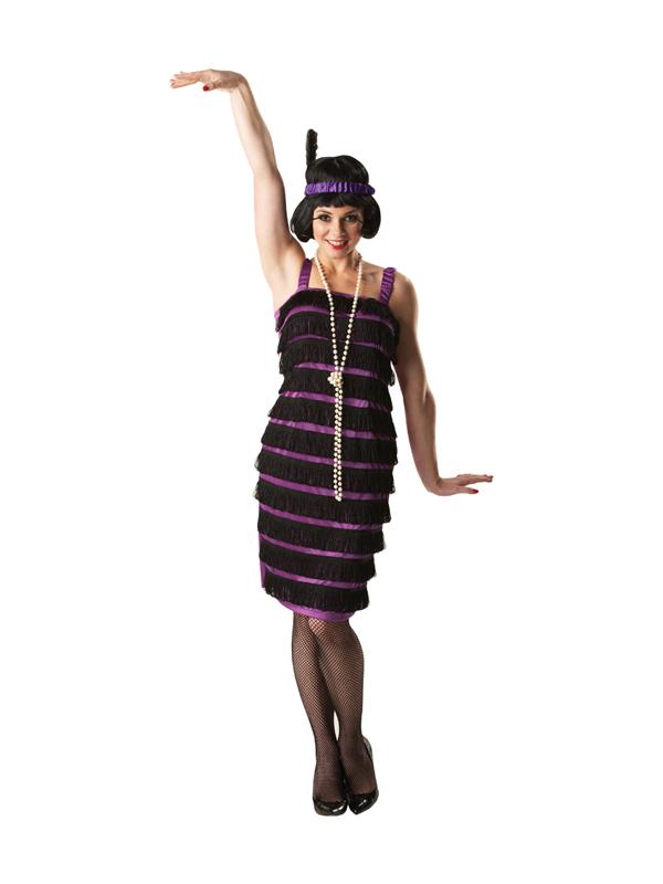 1920s Black and Purple Ladies Flapper Costume